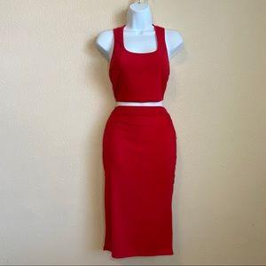 Two piece crop top midi skirt
